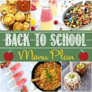 This Back-to-School Party Menu Plan is the perfect way to overcome any start of a new school year jitters or just celebrate with your school-loving littles!  Everything from appetizers and drinks, to main dishes, sides and desserts are covered, helping you come up with a delicious and easy back-to-school party without a hassle!