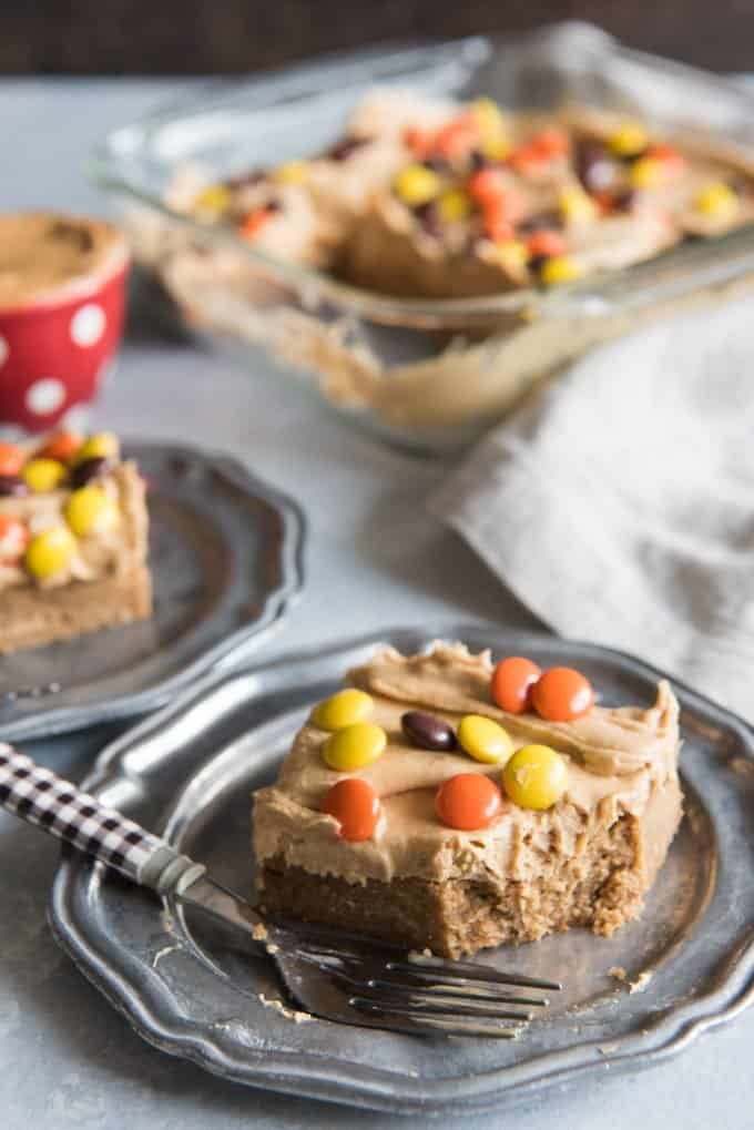 a peanut butter blondie on a plate with a fork