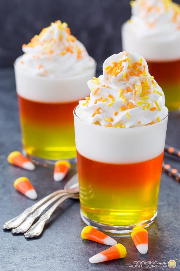 Candy Corn Jello is perfect for your Spooky Halloween Party Menu Plan!