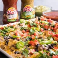 Sheet Pan Ultimate Nachos with Slow Cooker Salsa Verde Ranch Chicken