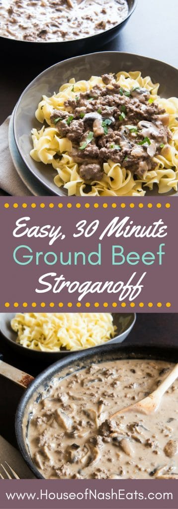 Looking for a great, classic weeknight dinner option that the whole family will love?  This Ground Beef Stroganoff recipe is ready in less than 30 minutes, made from scratch without cream of mushroom soup, and is hearty, satisfying and delicious!