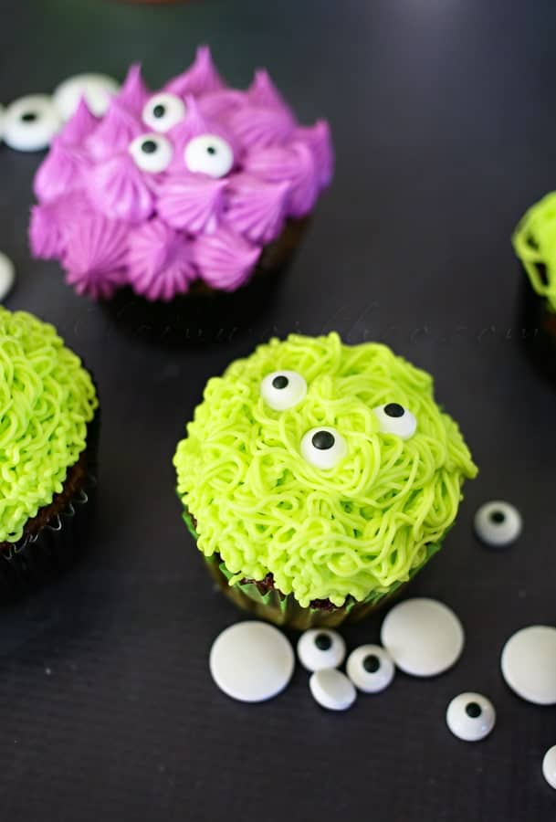 Monster Cupcakes are easy and perfect for your Spooky Halloween Party Menu Plan!