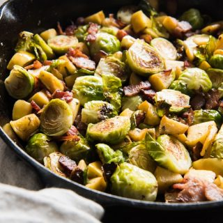 Roasted Brussels Sprouts with Bacon and Apples is a wonderfully savory side dish that is special enough for a holiday dinner like Thanksgiving or Christmas, but easy enough to make on a weeknight for your family.