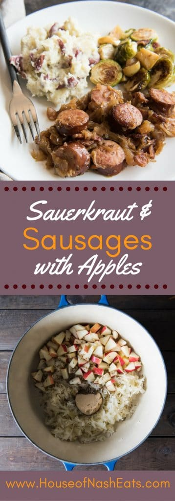 Sauerkraut and Sausages with Apples can be made using any German or Polish style sausage like Kielbasa, Bratwurst, or Knockwurst. The apples (along with a little cider and brown sugar) help cut the sourness of the sauerkraut with just the right amount of subtle sweetness that goes perfectly with the rich, juicy sausages. Serve this with some dill mashed potatoes and brussels sprouts for a delicious Oktoberfest dinner! #AppleWeek