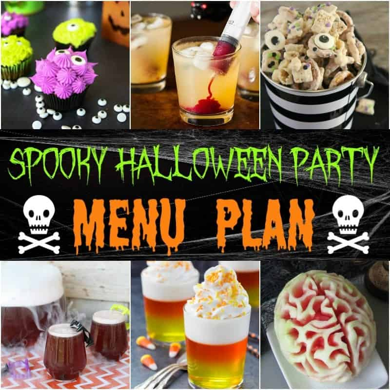 This Spooky Halloween Party Menu Plan has some great, easy ideas for pulling together a fun, frightful Halloween-themed bash!  Everything from appetizers and drinks, to main dishes, sides and desserts are covered, helping you come up with a delicious and easy party for All Hallow's Eve (or any October eve) without a hassle!