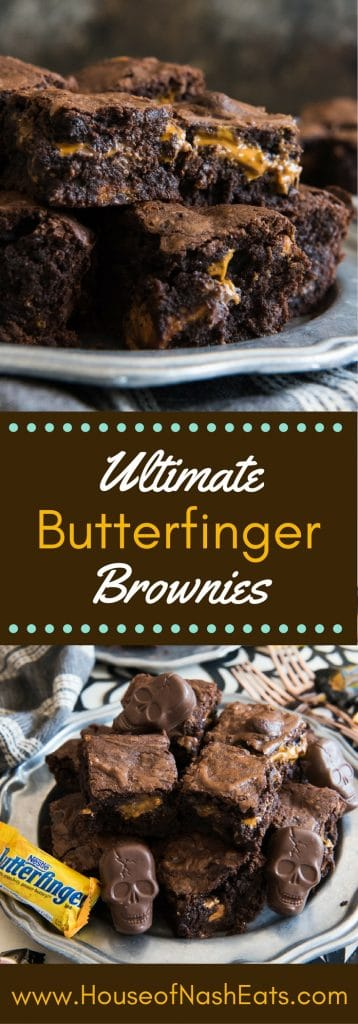 These Ultimate Butterfinger Brownies are rich and fudgy, with the signature crispety, crunchety, peanut buttery-ness of Butterfingers!  Don't wait until you have leftover Halloween candy to make these!  Make sure you grab an extra bag of Butterfingers Peanut Butter Cups to have on hand just for baking these frightfully delicious Halloween brownies! #trickorbutterfinger #ad