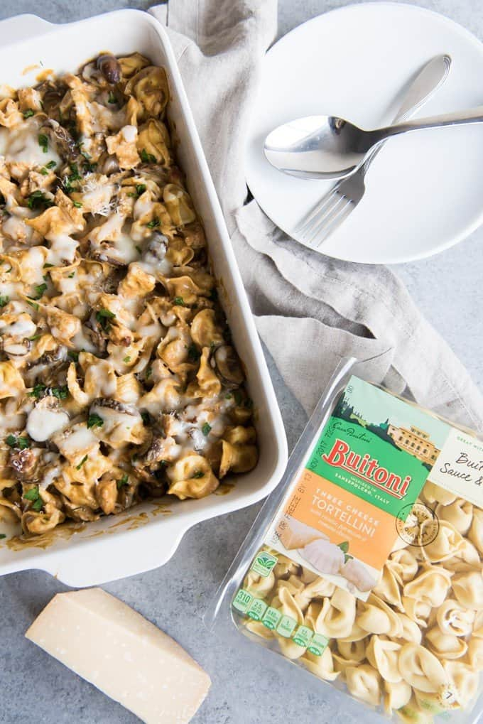 This Cheesy Tortellini & Chicken Pumpkin Alfredo Bake features Buitoni® Three Cheese Tortellini with pan-seared chicken breast, tossed with a cheesy, creamy pumpkin alfredo sauce, as well as fresh mushrooms and crumbled bacon! It's a family-pleasing weeknight meal that is savory and satisfying!