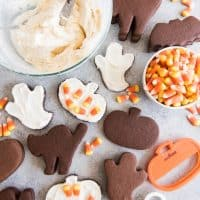 Chocolate Cut Out Sugar Cookies and frosting with candy corn