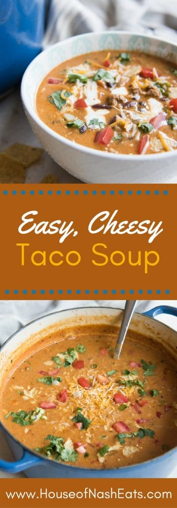 This easy, Cheesy Taco Soup is a completely satisfying, full-flavored soup that is made in one pot in under 30 minutes, then garnished with all your favorite taco fixins'! There is nothing like a good bowl of soup to warm you up on chilly days, and this Cheesy Taco Soup is loaded with wonderful flavors and textures that make it one of our go-to meals during the cooler months. Plus, I can have it ready in under 30 minutes, with minimal fuss, which is a huge help on busy, blustery days.