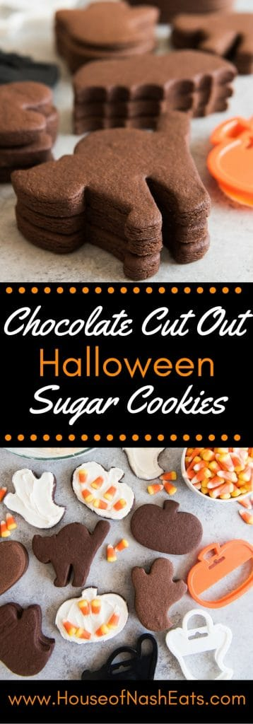 These Easy Chocolate Cut Out Sugar Cookies hold their shape and have great chocolatey, buttery flavor that is perfect with either royal icing or a regular buttercream frosting.  Great for Halloween, Valentine's Day, or anytime!