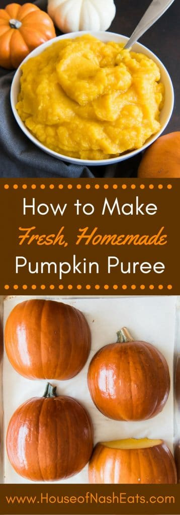 Including a step-by-step photo tutorial for how to roast a pie pumpkin (also known as a sugar pumpkin), this post shows how easy it is to make this homemade pumpkin puree recipe for all your Fall baking!  Pies!  Breads!  Cookies & more!