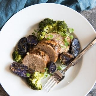 This delicious Honey Mustard Pork Tenderloin with Honey Steamed Broccolini and Roasted Baby Purple Potatoes is all fancy seeming and impressive (especially if you opt to plate each serving individually) with big flavors, but it's really simple to make!