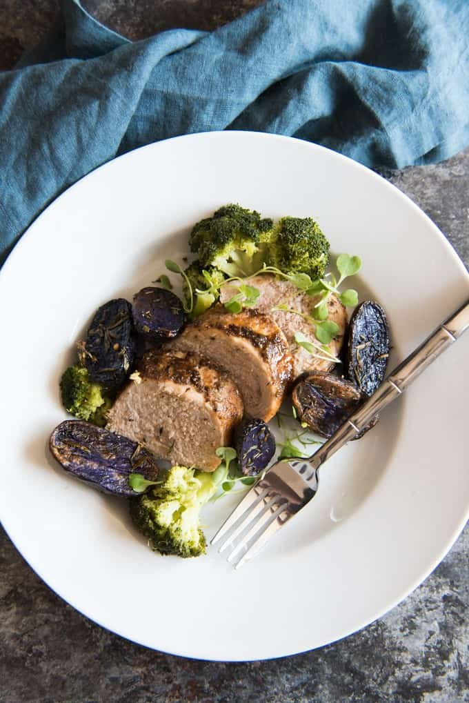 Honey Mustard Pork Tenderloin with Honey Steamed Broccolini and Roasted Purple Potatoes