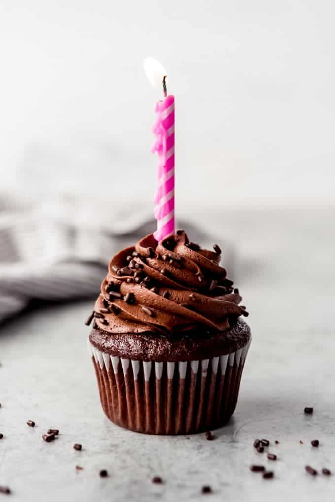 An image of a chocolate cupcake with a pink birthday candle in it.