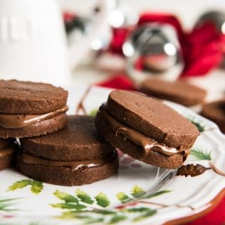 Double Chocolate Nutella Sandwich Cookies | #ChristmasCookies