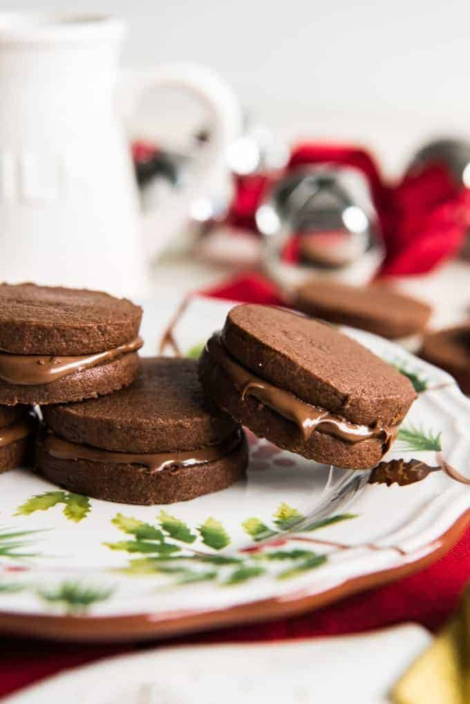 Double Chocolate Nutella Sandwich Cookies