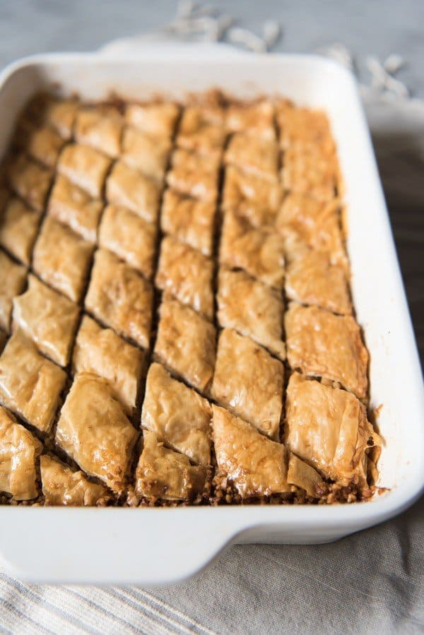 baked baklava in baking dish