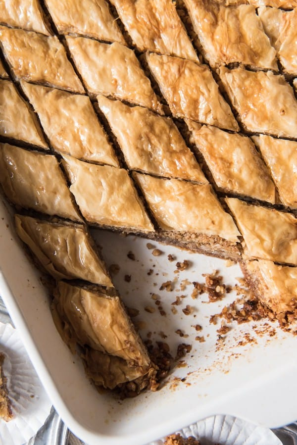 Close-up overhead shot of baklava sliced into diamond shapes.