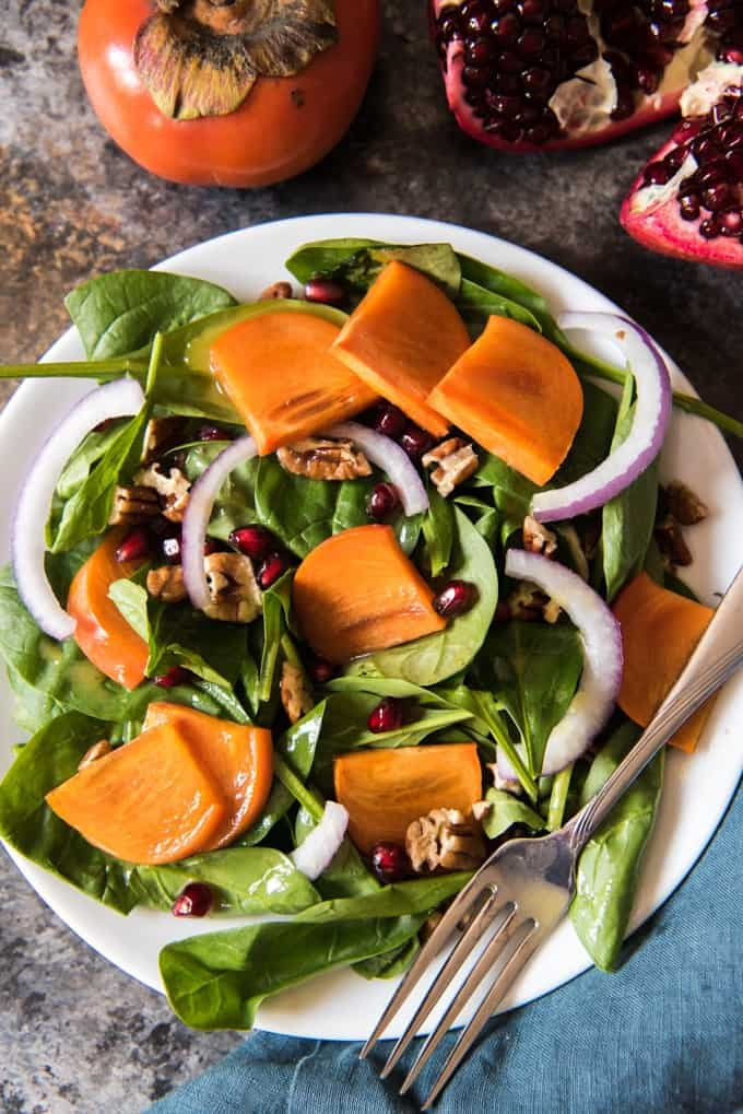 Persimmon, Pomegranate, and Spinach Salad with Maple Citrus Vinaigrette