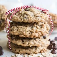 Toffee Oatmeal Chocolate Chip Cookies tied with a red and white string