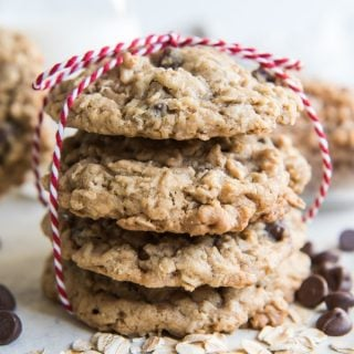 Toffee Oatmeal Chocolate Chip Cookies are hands down the best oatmeal cookie variation there is, in my opinion.  Perfectly balanced flavors with caramelized toffee bits and milk chocolate, and always soft & chewy on the inside while barely crisp around the edges.  These are impossible to resist!