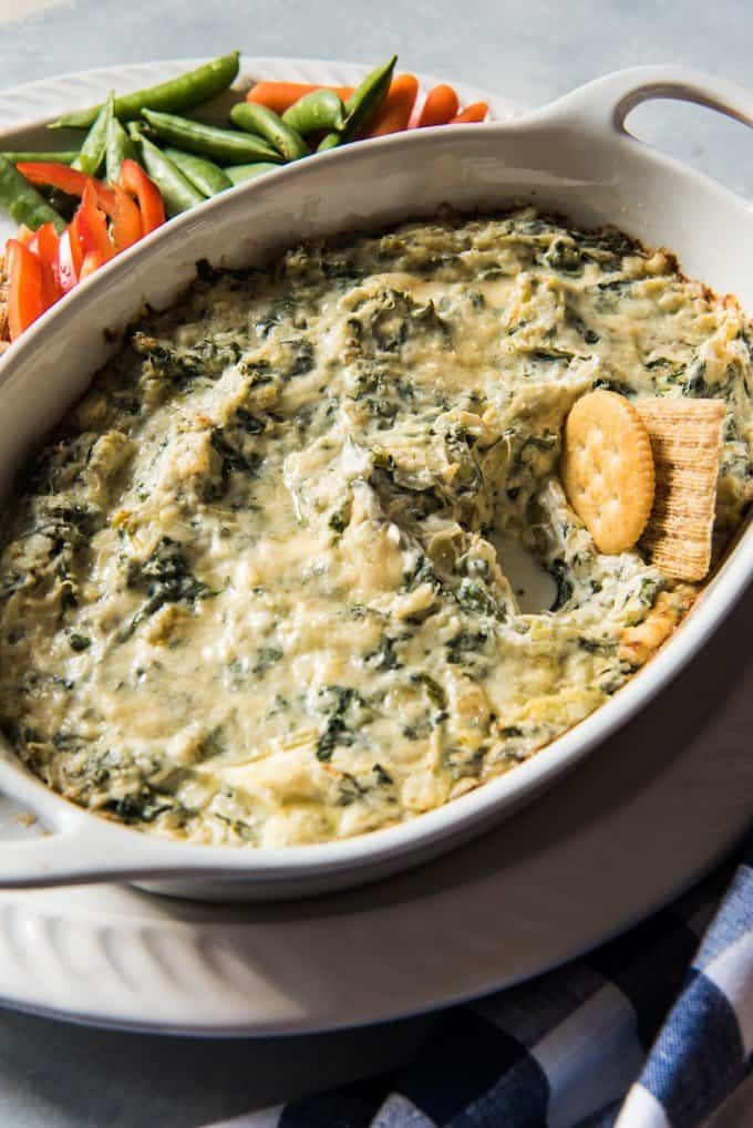 A lighter version of baked spinach artichoke dip is perfect for a party or game day.