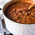 Nothing beats a big, bowl of chili with a slice of cornbread drenched in honey on a chilly, wet day! We've had a lot of that kind of weather lately, and this meaty mushroom chili has been keeping my family fed, happy and warm!