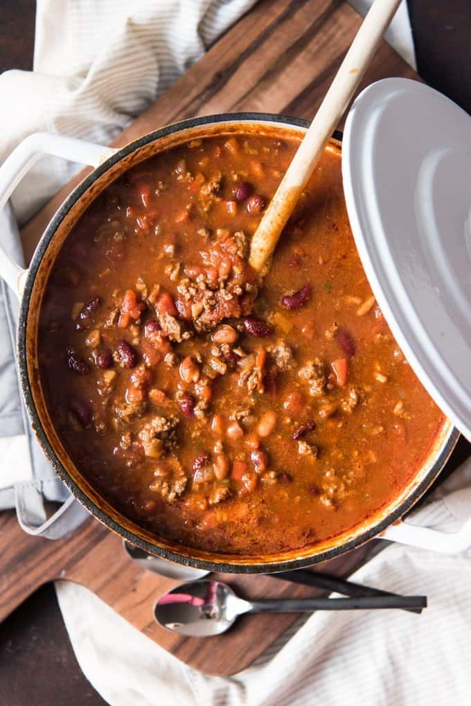 meaty mushroom chili in a pot with a wooden spoon sticking out