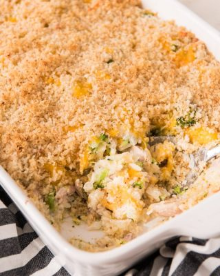 There's something so nostalgic and comforting about a good casserole for a weeknight dinner and this Chicken Broccoli and Rice Casserole hits all the comfort food buttons.  It's cheesy and savory with tender bites of chicken and broccoli in every bite.