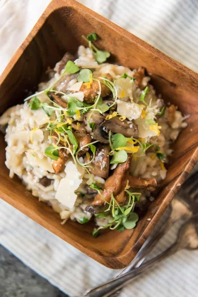 Creamy Roasted Garlic & Mushroom Risotto is a restaurant quality dish that is perfect for a special occasion dinner and can be served as either a meatless main dish, side dish, or appetizer depending on how you portion each serving.