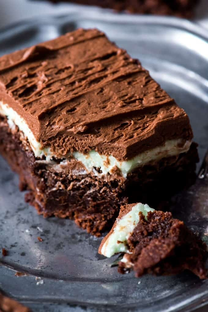 Fudgy Frosted Chocolate Mint Brownies