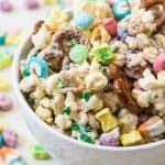 This magically delicious Lucky Charms Snack Mix has a rainbow of Spring colors and is a fun, sweet treat for snacking!  Made with pretzels, M&M's, white chocolate, popcorn, sprinkles, and of course, Lucky charms, this is a hard-to-resist goodie that is fun for both St. Patrick's Day and Easter.