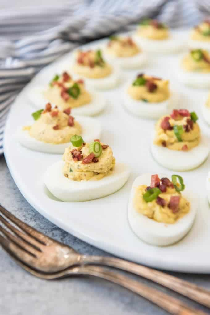 Bacon Green Onion Deviled Eggs
