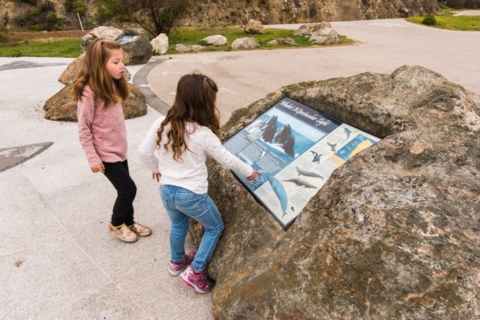 An image of two young girls looking at an informational plaque about gray whales in Big Sur, California.