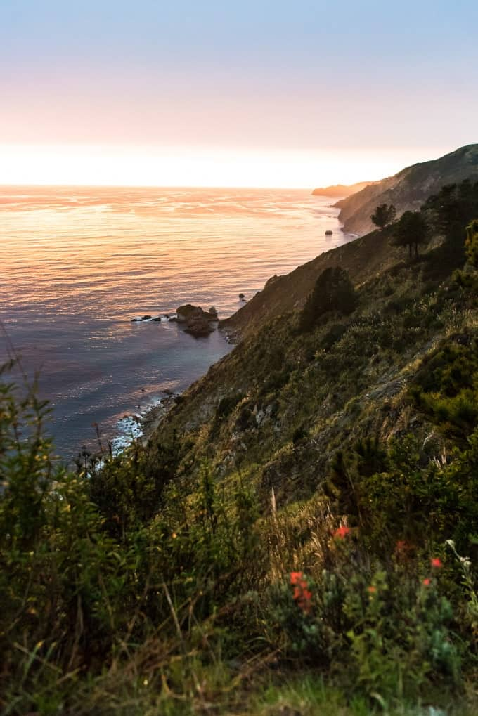 An image of the sunset at Big Sur along the Pacific Coast.