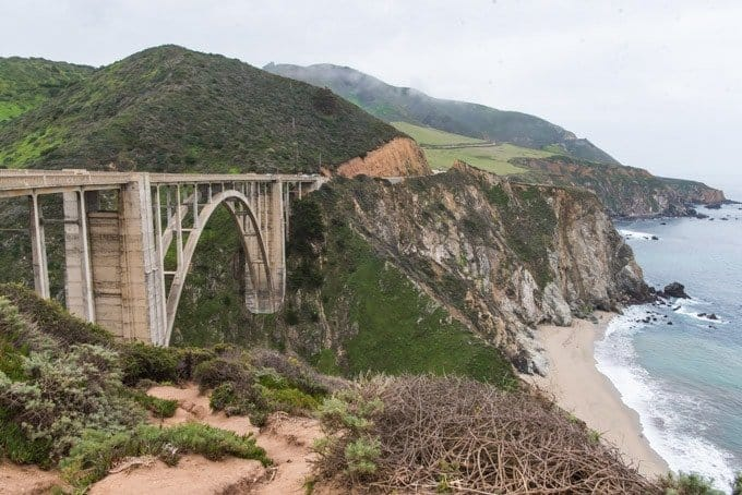 An image of Bixby Creek Bridge in Big Sur on an overcast day.
