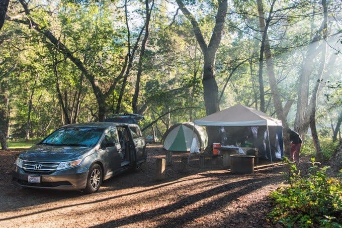 An image of a family campsite during the morning while camping in Big Sur.