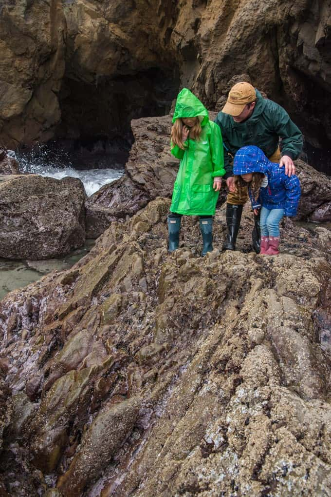 An image of a father and two young children in raincoats climbing on rocks at Pfeiffer Beach State Park in California.
