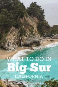 "An image of a coastal waterfall called McWay Falls with the text ""What to do in Big Sur California""."