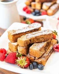 Perfectly dippable and delicious, these Cinnamon French Toast Sticks are a bite-sized brunch option that are a tasty breakfast treat for kids and grown-ups alike!