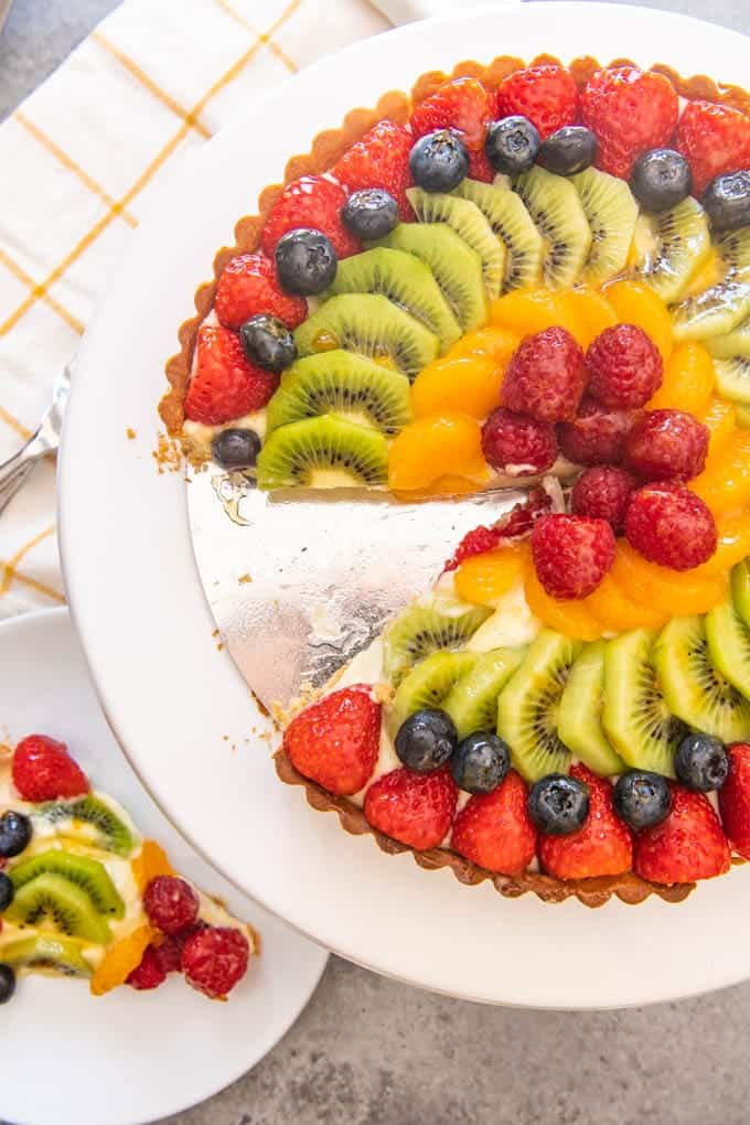An image of a classic French fruit tart with strawberries, kiwi, mandarin oranges, blueberries and raspberries arranged on top.