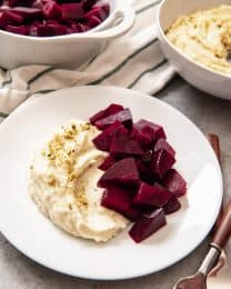 Pantzaria me Skordalia (Roasted Beets with Garlic-Potato Spread) is a wonderful Greek food that is traditionally served as a meze but can also be served as an appetizer or side dish.