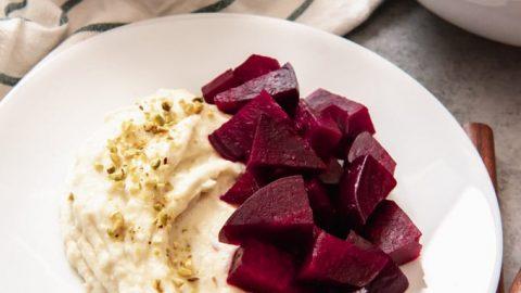 Pantzaria me Skordalia (Roasted Beets with Garlic-Potato Spread)