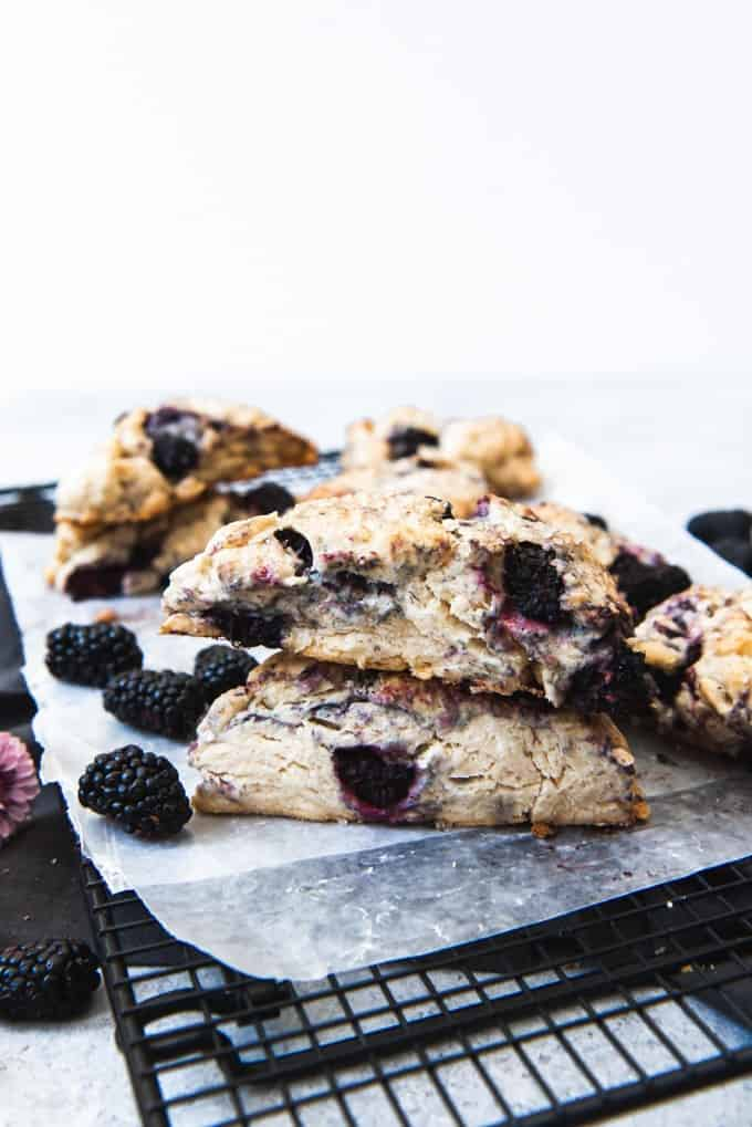 These thick, fruit scones are full of juicy, plump blackberries for bursts of flavor with coarse sugar sprinkled on top.