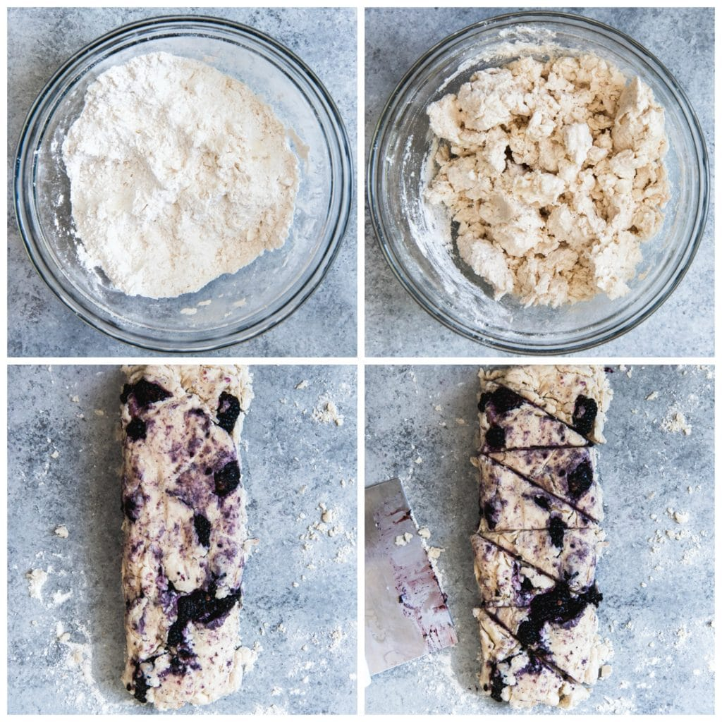 A collage of the step-by-step process of mixing scone dough for cream scones with fresh blackberries folded in, then cut out into triangles.