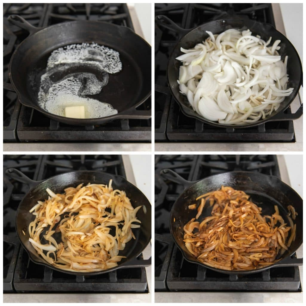 An image of step-by-step pictures for how to make caramelized onions.