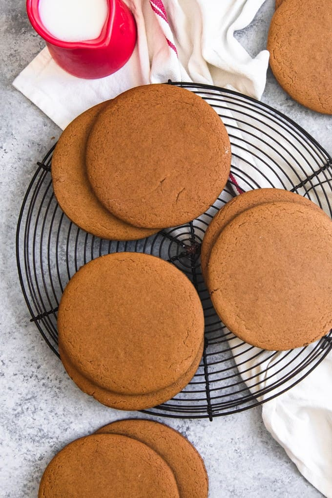 An image of large, brown molasses cookies called Joe Froggers cookies.