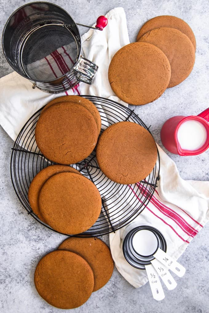 Joe Froggers Cookies are soft, oversized molasses cookies flavored with rum (or rum extract in this case) dating back to the Revolutionary War when they were created in Marblehead, Massachusetts.  A true American original and perfect for the 4th of July!