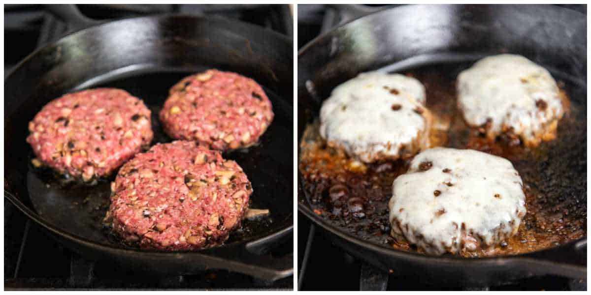 A collage of hamburger patties made with lean ground beef and chopped mushrooms cooking in a cast iron pan then being topped with melted swiss cheese.