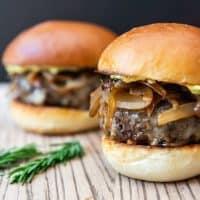 Soy-Glazed Mushroom Swiss Burgers with Caramelized Onions & Rosemary Aioli